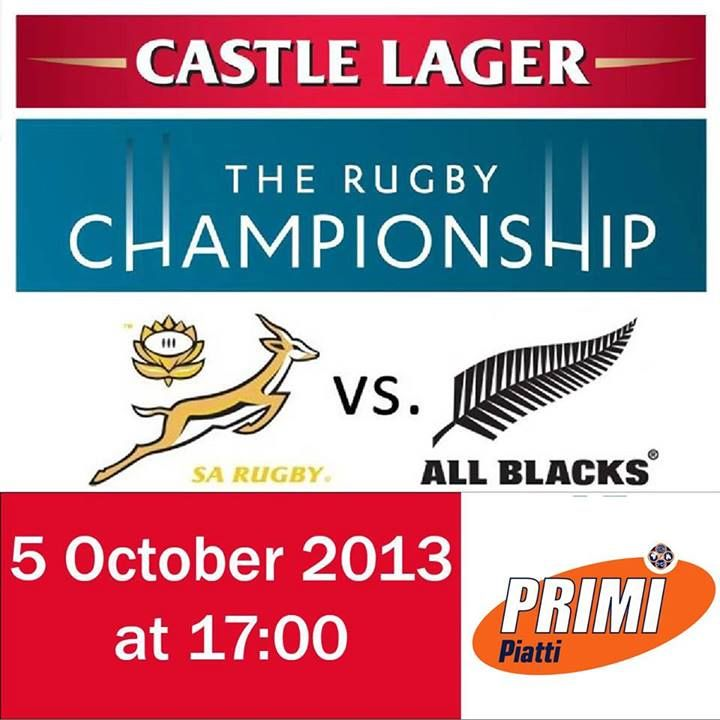 Good luck to the #Springboks in their clash against New Zealand this afternoon in the final of the Rugby Championships at 17:00. Head down to Primi Piatti Caledon Square and experience the action. There's a tough game ahead and may the best team win!  Alcohol Not For Sale To Persons Under The Age Of 18 Years.
