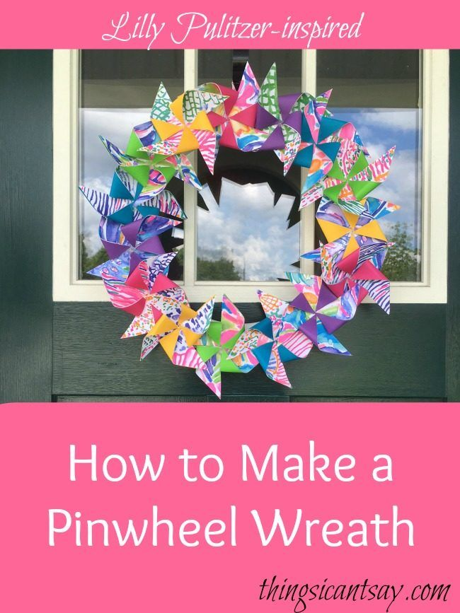 How to make a pinwheel wreath. Easy summer wreath made with upcycled Lilly Pulitzer catalogs. If you don't have paper you want to use, you can still make this for less than $10!  Wreath ideas Pinwheel wreath Summer wreath Lilly Pulitzer crafts