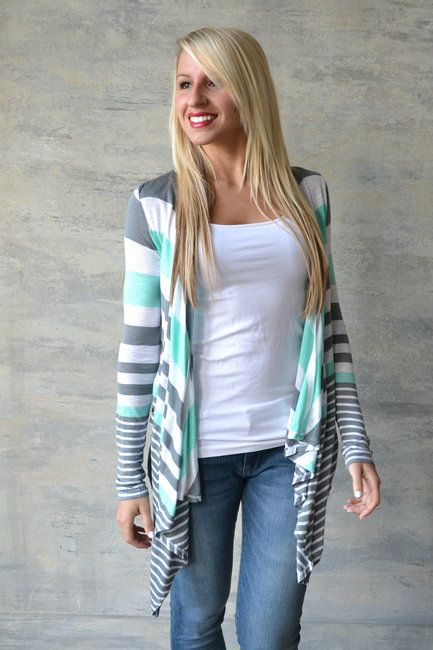 Lightweight striped open cardigan