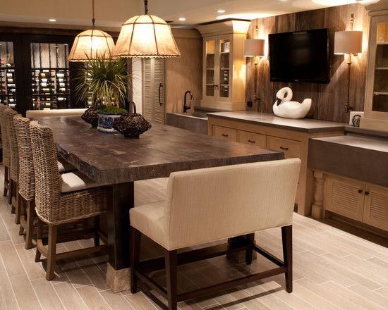 French country breakfast nook built in design - Kitchen island dining table ...