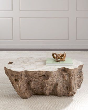 Handcrafted coffee table. Resin base designed to resemble a natural tree  trunk. Top made