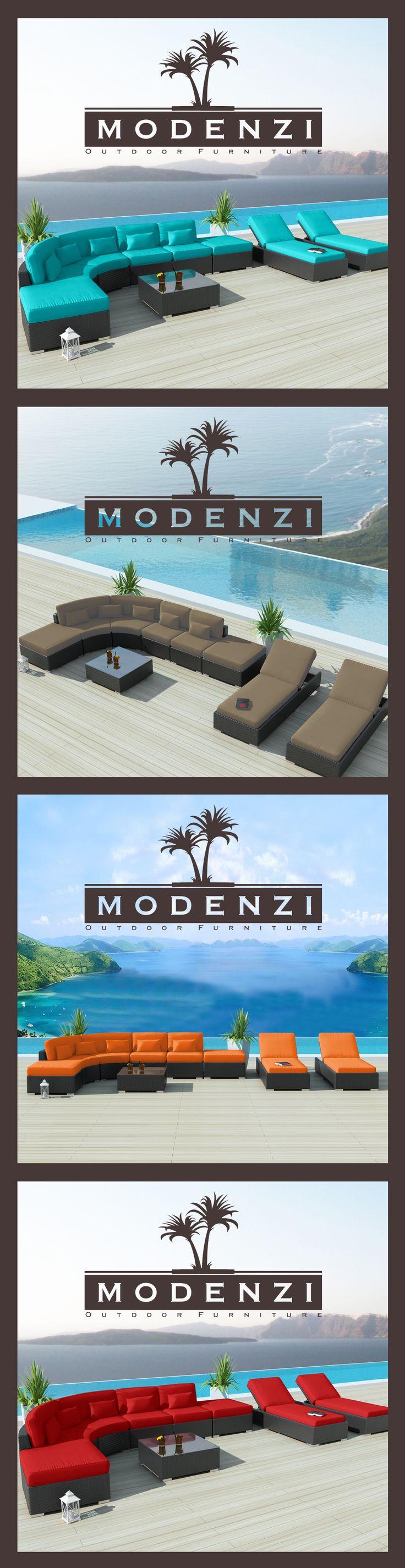 Modenzi High End Modern Wicker Furniture Sofa set 9Pcs Loungers
