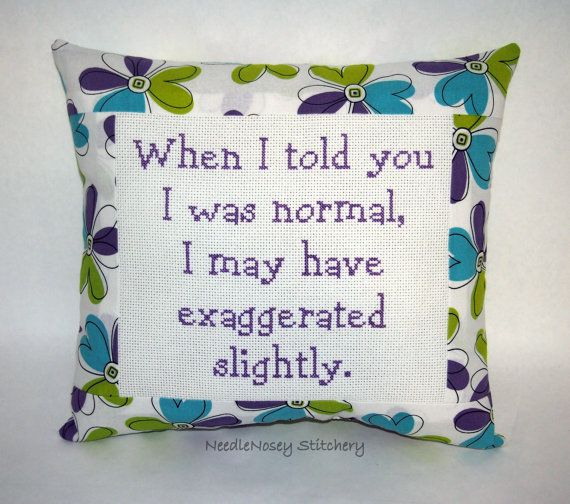 Funny Cross Stitch Pillow Green Blue and Purple by NeedleNosey, $25.00