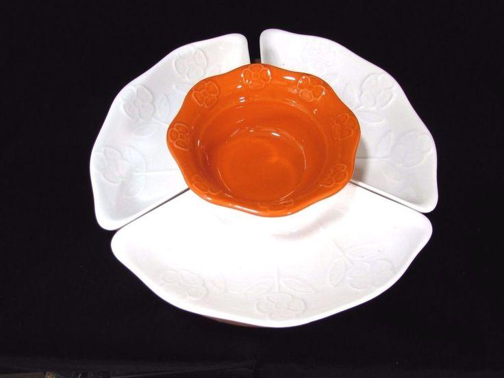 Vintage California Pottery Lazy Susan White Orange Center Turntable Mid Century  #CaliforniaPottery