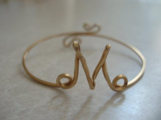 Initial Wire Cuff Bracelet Letter M