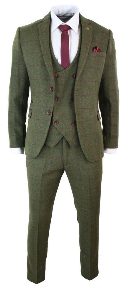 d2c9470c6a66 Men s Olive Green 3 Pieces Tweed striped Fashion Tuxedos Wedding Suit Custom