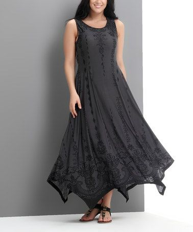 Look what I found on #zulily! Charcoal Ornate Handkerchief Maxi Dress - Plus by Reborn Collection #zulilyfinds