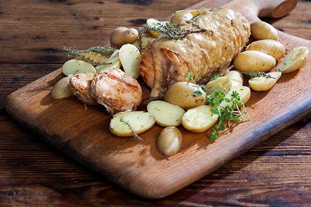 Κοτόπουλο ρολό με σάλτσα μουστάρδας