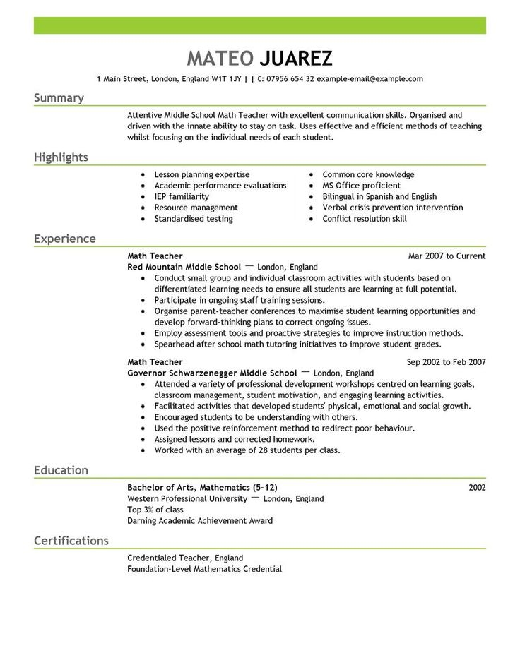 example of a resume for a teacher