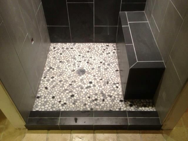 12x24 Tile w/ Pebble Rock Shower Floor