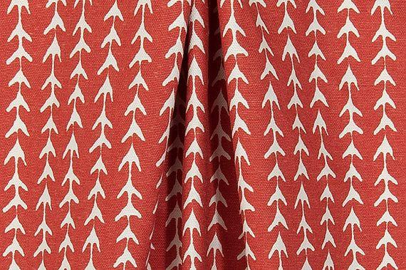 Designer Rustic Red Vine Fabric Cotton Home Decor Fabric Drapery Fabric Curtain Fabric Upholstery Fabric Tribal Mediterranean Fabric B518