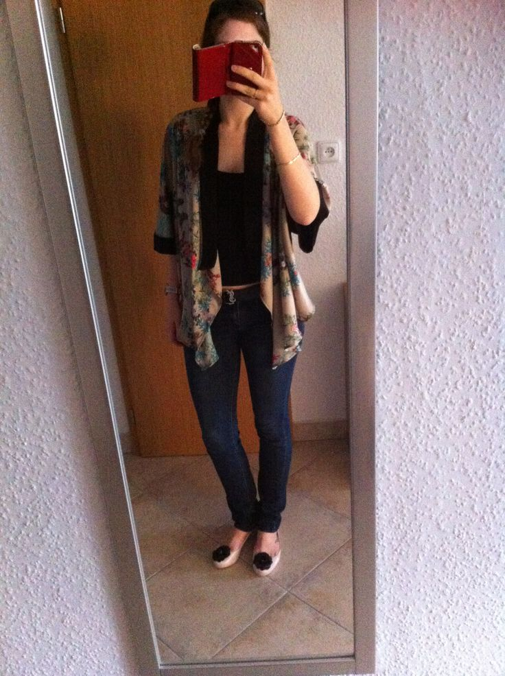 Silky flowy cardigan, jeans and melissas. Ootd. Enjoy yourself