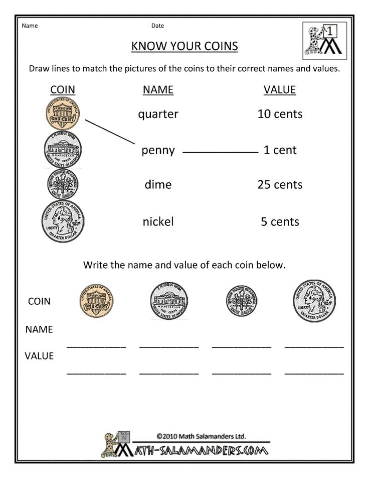 A really simple, yet effective, worksheet to help teach you're 1st grader how to recognize coins.