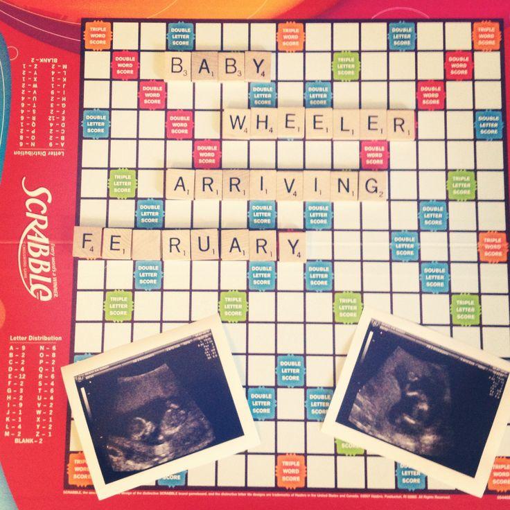 Pregnancy announcement!Pregnancy Announcements, Pregnancy Photos, Baby'S Someday, Announcements Ideas, Pregnancy New Baby, Pregnancy Ideas, Newborns Families Photos, Scrabble Pregnancy, Baby'S Pregn