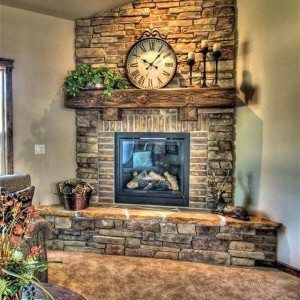 Stone And Brick Corner Fireplace Design , Corner Fireplace Design Ideas In Home Design and Decor Category