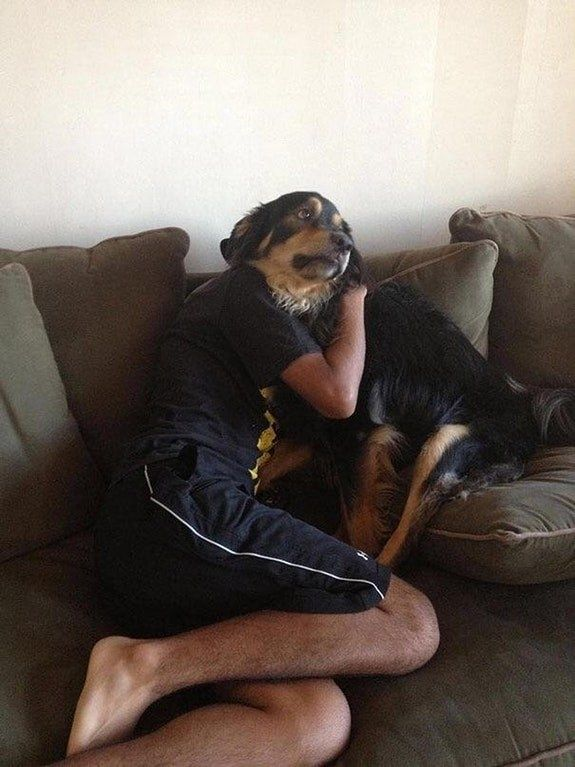 This pensive dog with a man's body.