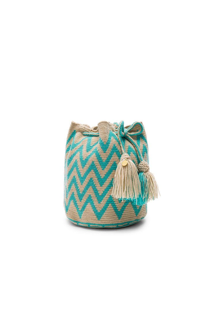 Guanabana Zig Zag Medium Bucket Bag in Turquoise | REVOLVE