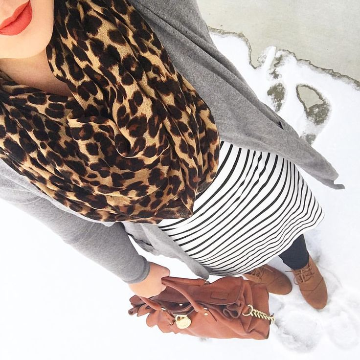 See this Instagram photo by @mixandmatchmel leopard scarf striped dress lace up wedges cognac purse gray longline cardigan old navy orange lips modest fall fashion winter style