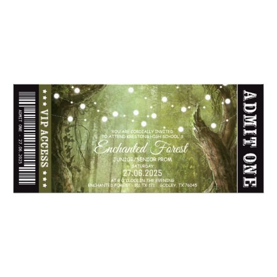 Enchanted Forest String Lights Prom Ticket Invites
