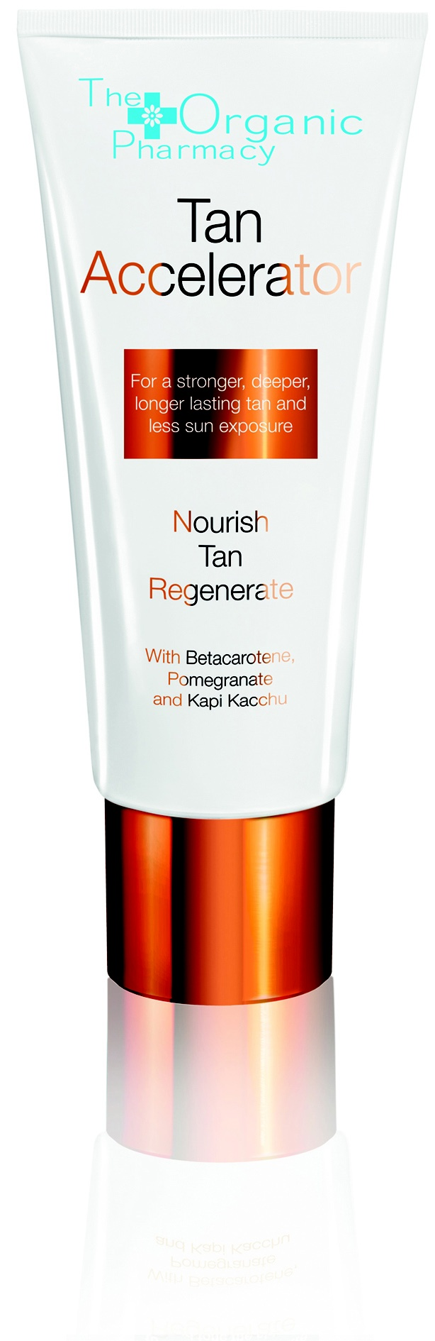 Tan Accelerator. Develop a rich deep tan faster with Betacarotene and Kapi Kacchu extract with less sun exposure.