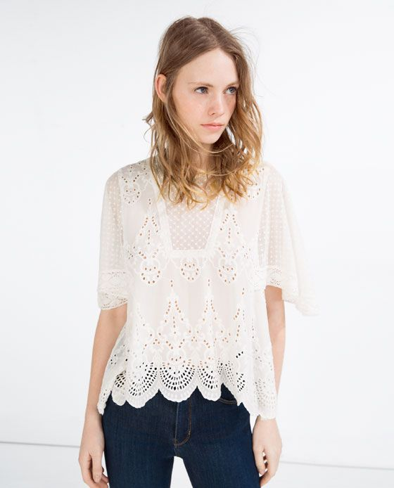 Image 2 of EMBROIDERED BLOUSE from Zara