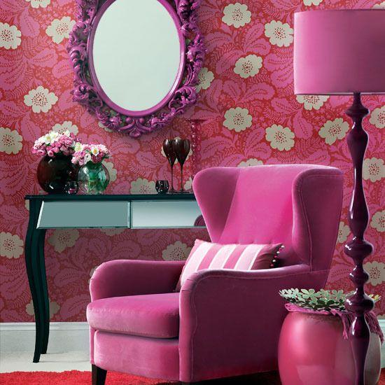 Purple and pink lamp. Fuschia decorative mirror