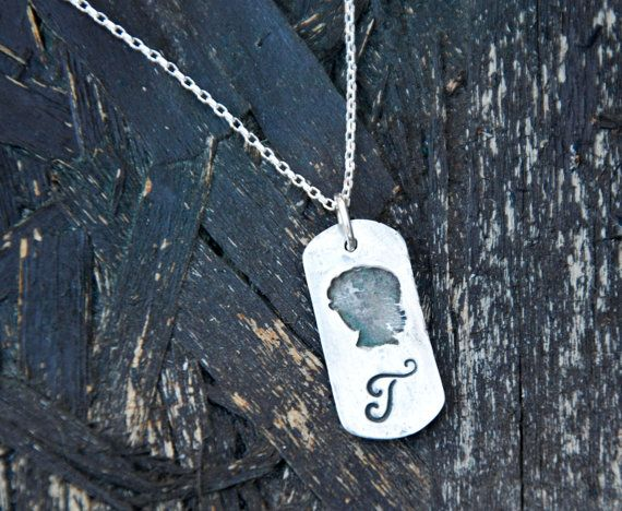 Silver Silhouette with Monogram Necklace - Get 10% OFF with coupon code PINIT when purchasing on Etsy