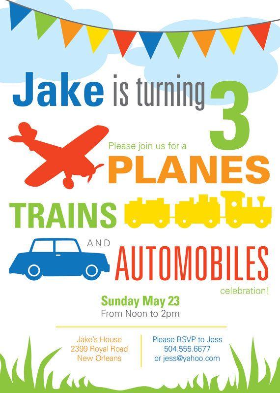 Printable Custom Planes Trains Automobiles Toddler Boy Birthday Invitation by FriedGreenDesign