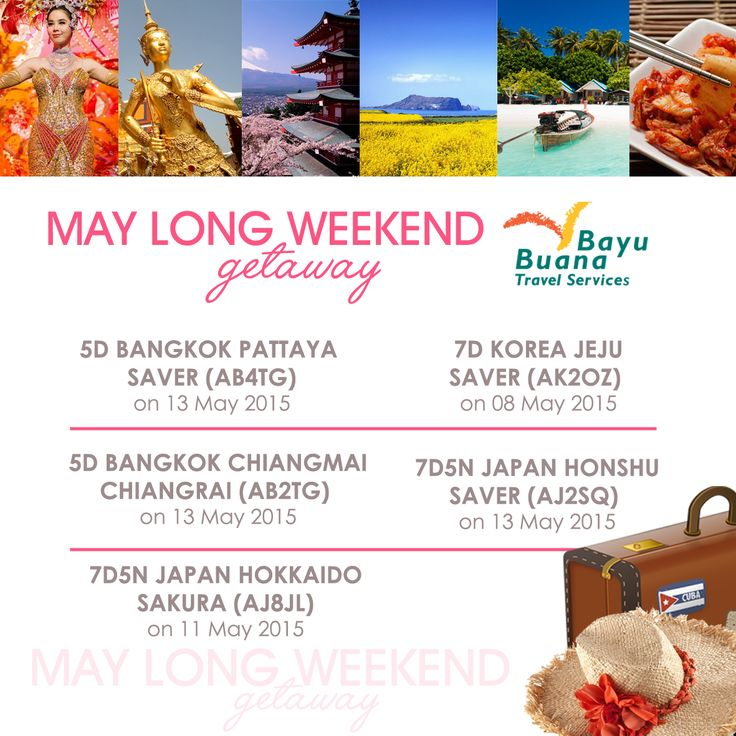 May Long Weekend Getaway! Pick your favorite destinations to spend your long weekend #holidays now! #travel #vacations #longweekend #family #couple #getaway #may Call us on 021 2350 9999 or email : cs@bayubuanatravel.com/ cs2@bayubuanatravel.com
