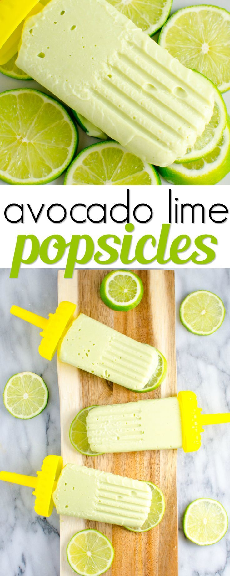 Avocado lime popsicles are the perfectly healthy summer treat! With only 4 simple ingredients these are so easy to make and so refreshing! #MomBlogTourFF AD