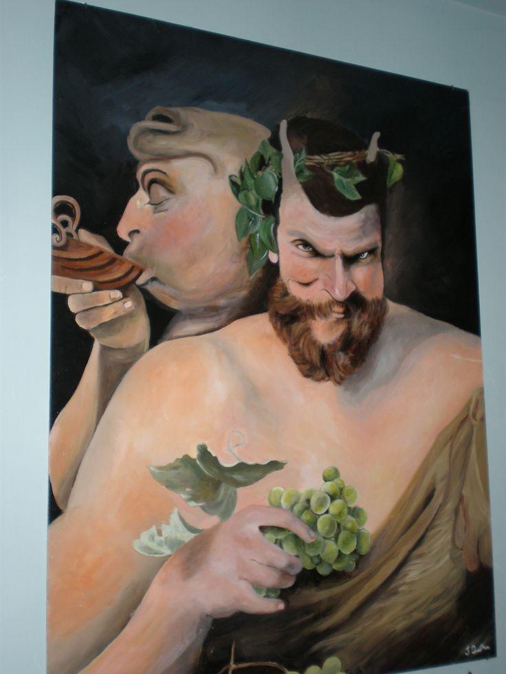 """Particolare da un'opera di Rubens """"I due Satiri"""" olio su tavola mdf"""