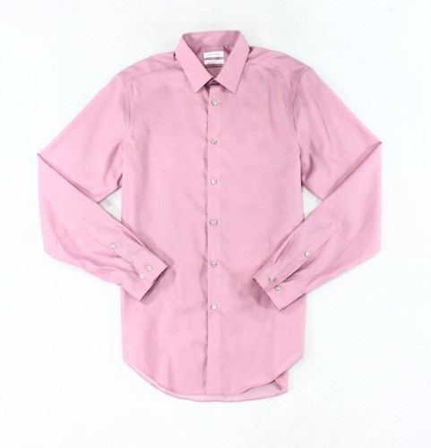 Calvin Klein Solid Prim Rose Pink Mens Size 16 1/2 Slim Dress Shirt