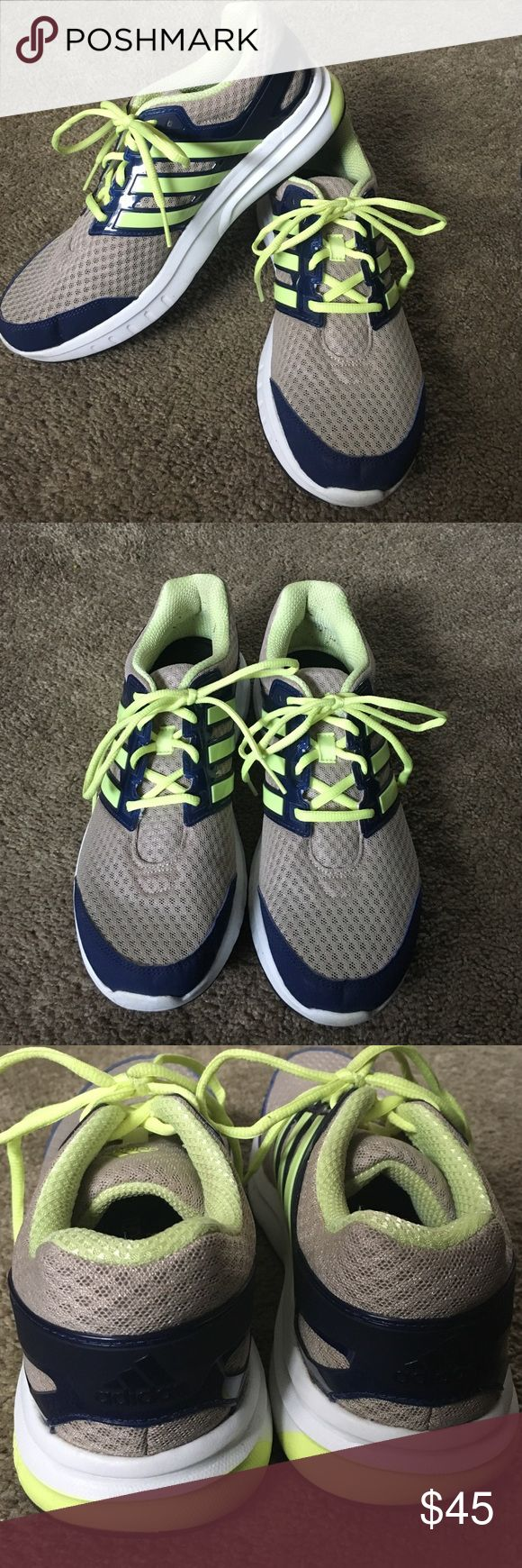 Fun Adidas running shoes Navy, gray and yellow green never worked so well together! New Adidas running shoes that feel like you're literally walking on clouds ☁️ it's crazy how comfy these feel, as well as how crazy lightweight they are. Only wore once in a gym while coaching so brand new! I accept REASONABLE offers through the offer button. Adidas Shoes Sneakers