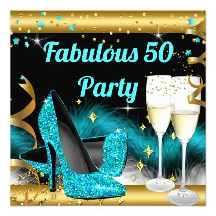 Fabulous Champagne Party Teal Blue High Heels Card - modern gifts cyo gift ideas personalize