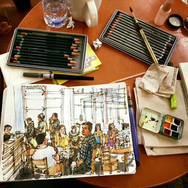 Urban Sketchers: Sketching in Starbucks