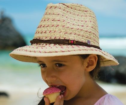 Girls Cailyn Fedora. Super cute with great sun protection. This paper straw Fedora is beige with pink stitching. It also has a leather and bead tie around the crown.
