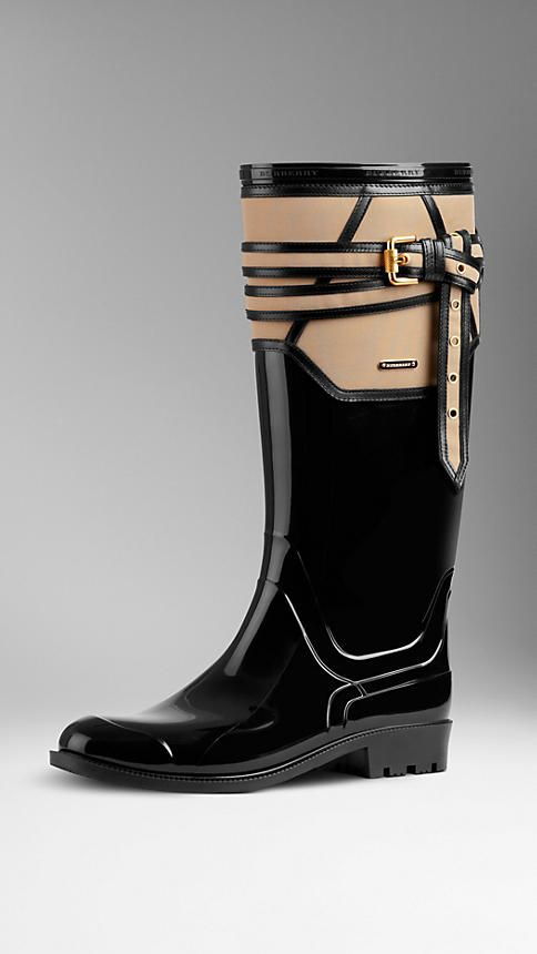 Belted Leather Detail Rain Boots | Burberry | $445