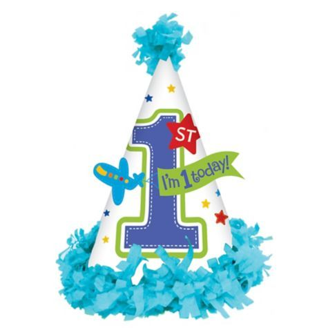 All Aboard 1st Birthday Cone Party Hat 7in x 5in - Party City Canada