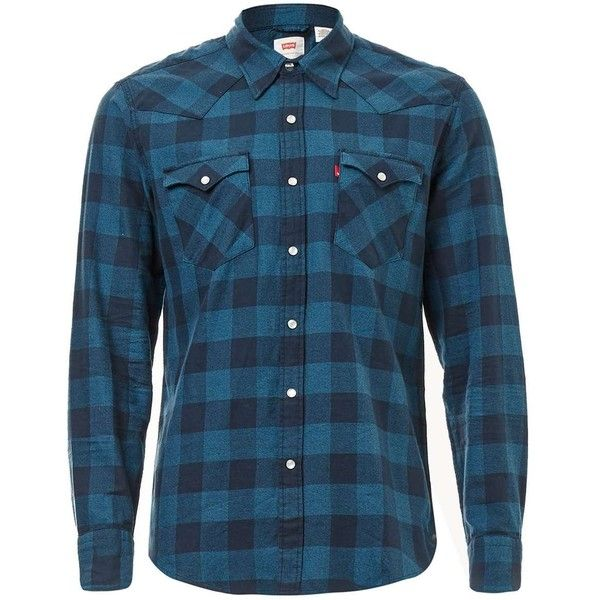 TOPMAN Levi's Blue Check Cotton Shirt ($80) ❤ liked on Polyvore featuring men's fashion, men's clothing, men's shirts, men's casual shirts, blue, mens checkered shirts, mens checked shirts, mens blue shirt, mens cotton shirts and mens collared shirts
