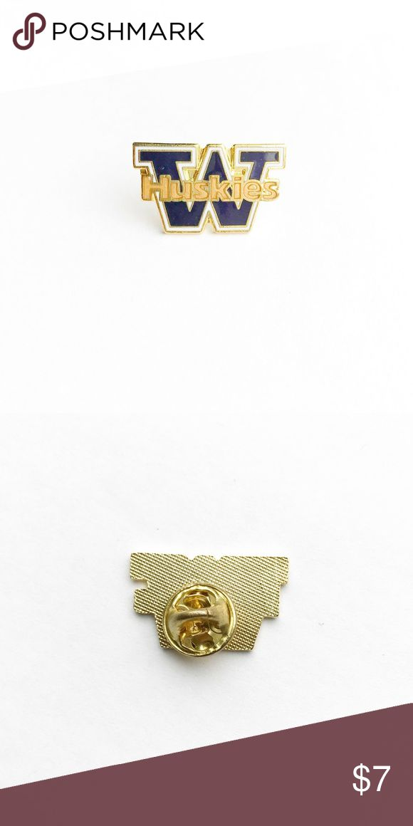 """Vintage UW Huskies Enamel Pin Vintage UW Huskies Enamel Pin  • true vintage • 1"""" x 5/8"""" • colors: gold, purple, white • tags: school pride, football, college, student, alumni, NCAA, varsity, champions, hat, lapel, brooch, team, University of Washington, husky, game, players, coach, quarterback, dawgs, basketball, volleyball, softball, academics, graduate, alumnus, vs pink, class, brooch  • all of the pins I sell are vintage and may contain minor nicks, imperfections, or oxidation Vintage…"""