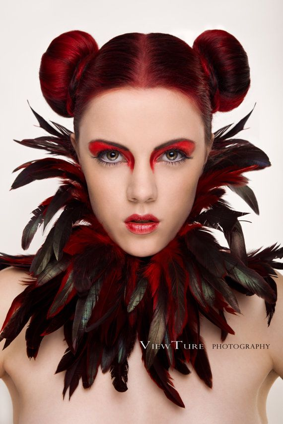 """""""Gothic Feather collar choker red burlesque swan by NinielChan, €44.90"""" - color scheme, check, now for the rest of the outfit ~:^]>"""