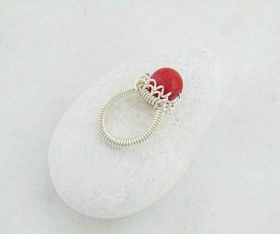 Wire Wrapped Ring marble ring Wire Wrap Ring by styledonna on Etsy