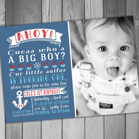 Boy Birthday Invitation Nautical Birthday Sailor by CLaceyDesign