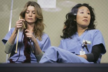 Grey's Anatomy. Don't know if she really knits or not.