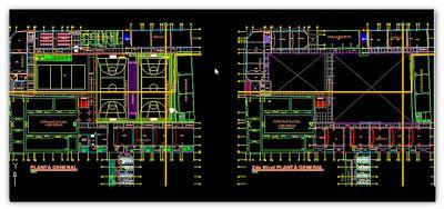 Plan de détail d'une école primaire en dwg