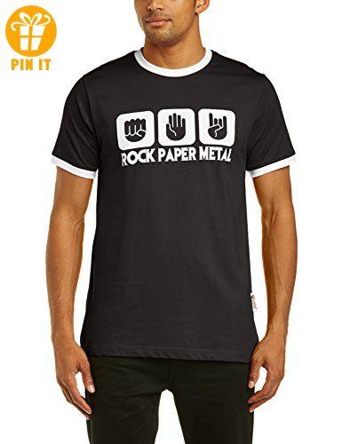 Touchlines Herren  Kontrast T-Shirt Stein Papier Rock  Heavy Metal Ringer, black/white, L, B5205 - T-Shirts mit Spruch | Lustige und coole T-Shirts | Funny T-Shirts (*Partner-Link)