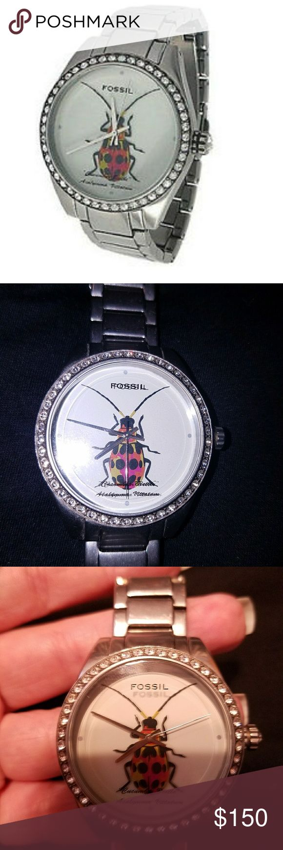 Retired Cucumber Beetle Fossil Watch 💖 A delightful hybrid of masculine and feminine qualities 💖  Stainless steel, boyfriend-style watch with  rhinestone details on face and setting knob.  All rhinestones in tact.  Center of face features the cucumber beetle and its scientific name.  Watch band does have some dulling and wear.   🌻New battery purchased and put in by jeweler on 7/8/17. Accessories Watches