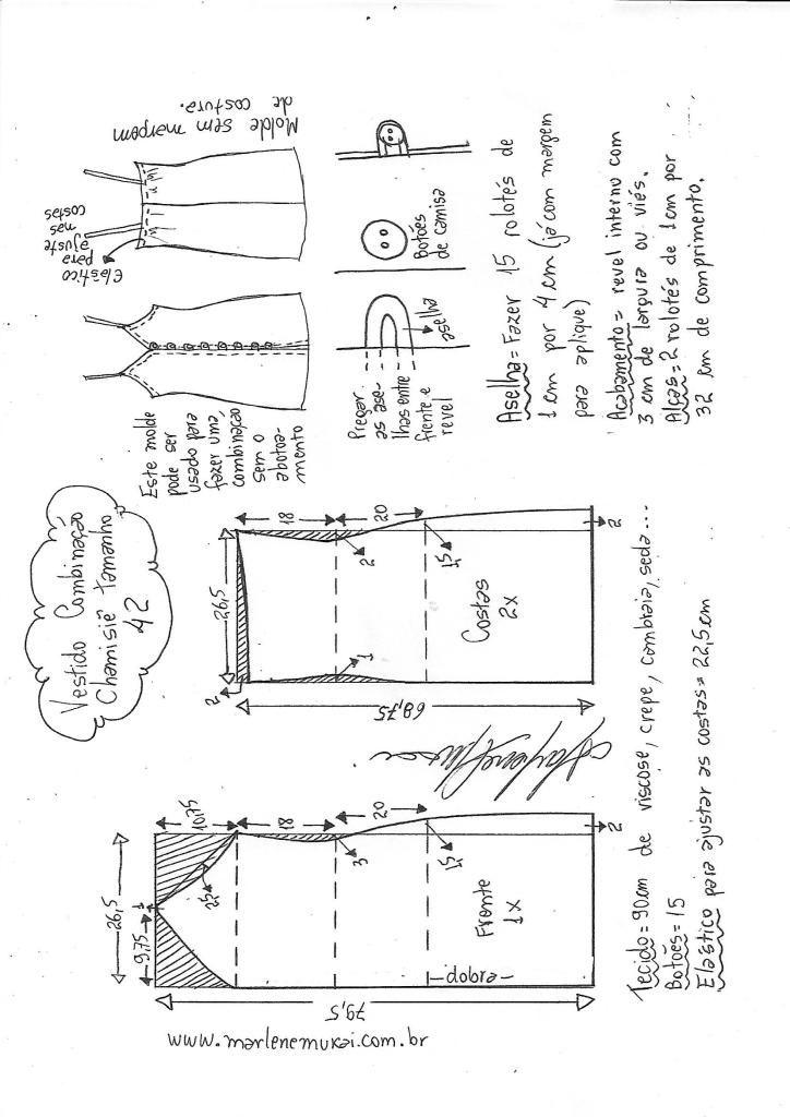 Vestido combinação chamisié | patrones y trazos | Pinterest ...