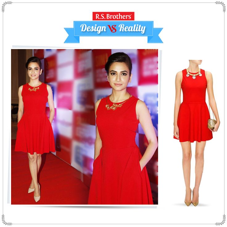 #Design vs #Reality! #KritiKharbanda looks pretty in a 'Red skater dress'. How much would you rate for her style out of 5? Present your Interest in comments…  (Image copyrights belong to their respective owners)