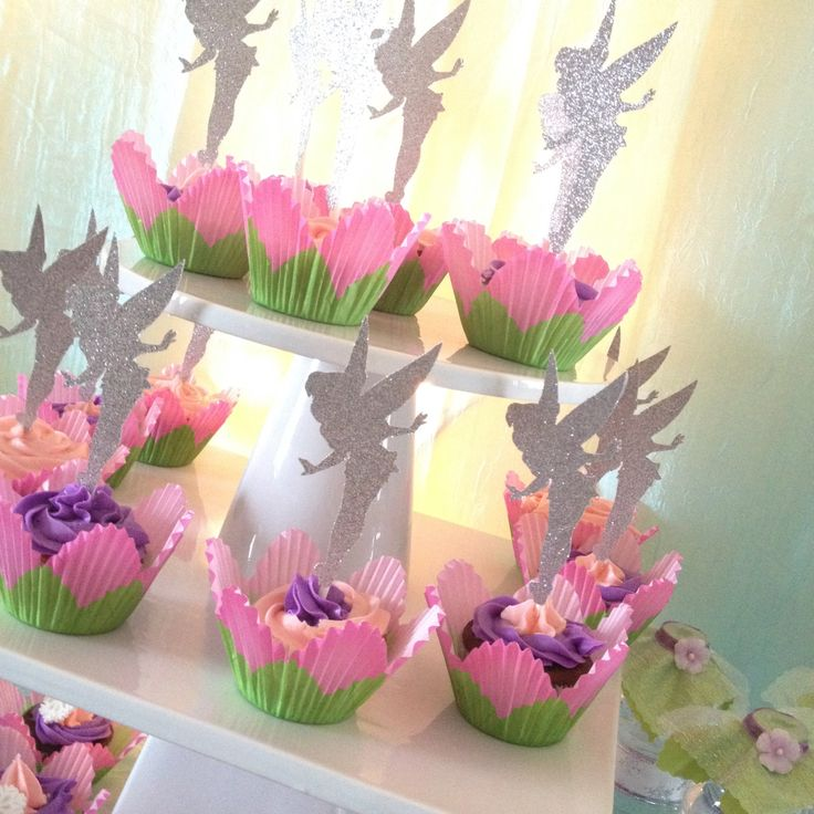 Tinkerbell Glitter Cupcake Topper Personalized Tags / Gift Tags / Thank you Tags / Cupcake Toppers